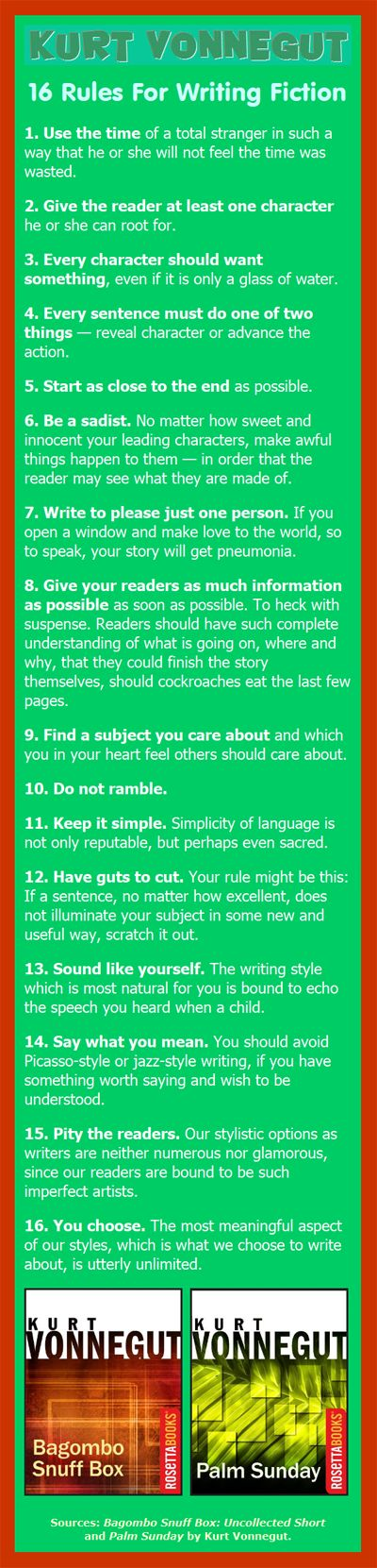 16 Rules of Writing Fiction